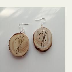 Käsintyönä tehdyt kataja symbols puukorvakorut (007)